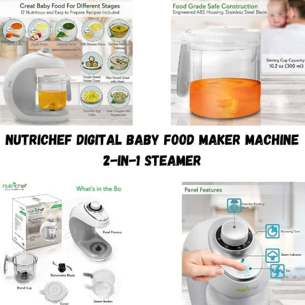 NutriChef Digital Baby Food Maker Machine - 2-in-1 Steamer and Blender with Steam Timer