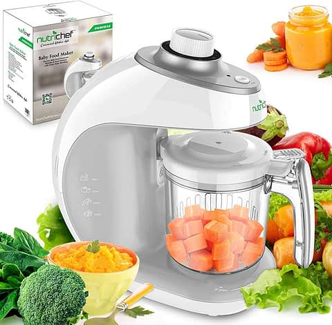 NutriChefDigital Baby Food Maker Machine - 2-in-1 Steamer and Blender with Steam Timer